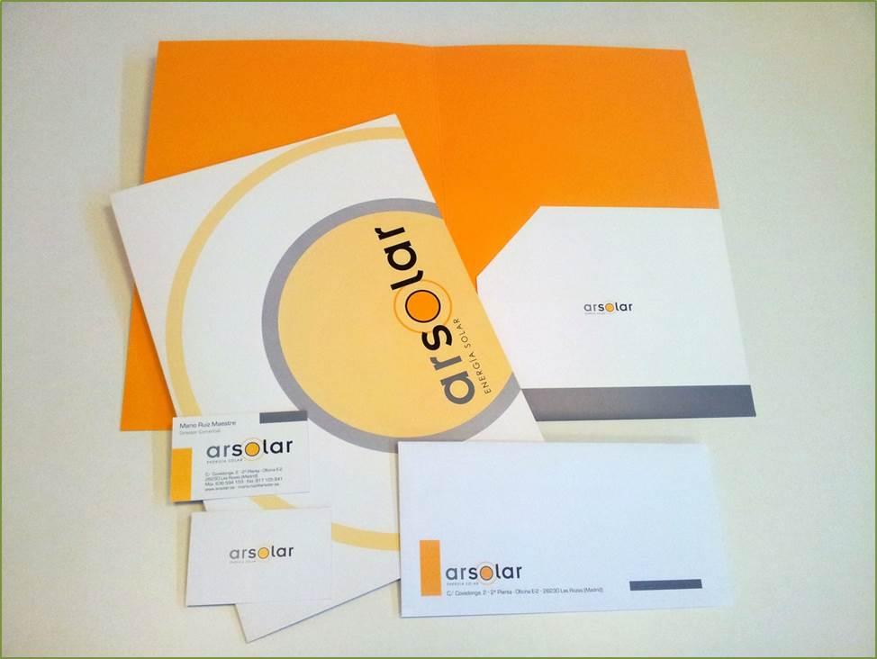 Diseño de logotipo y elementos de papelería de Arsolar