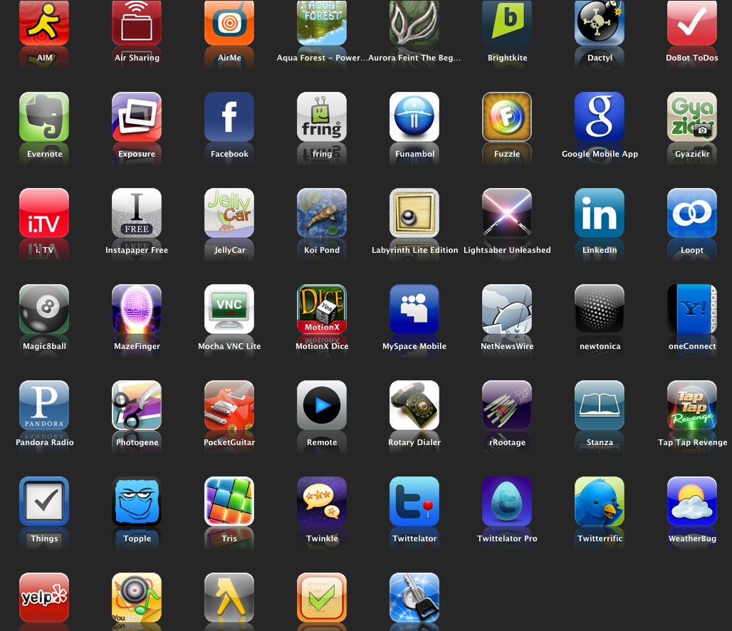 símbolos de apps para Android