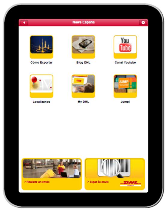 Pantalla de la nueva aplicación de DHL