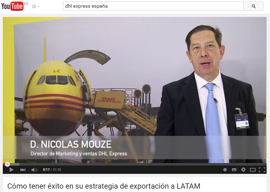 Vídeo de DHL Express en Youtube