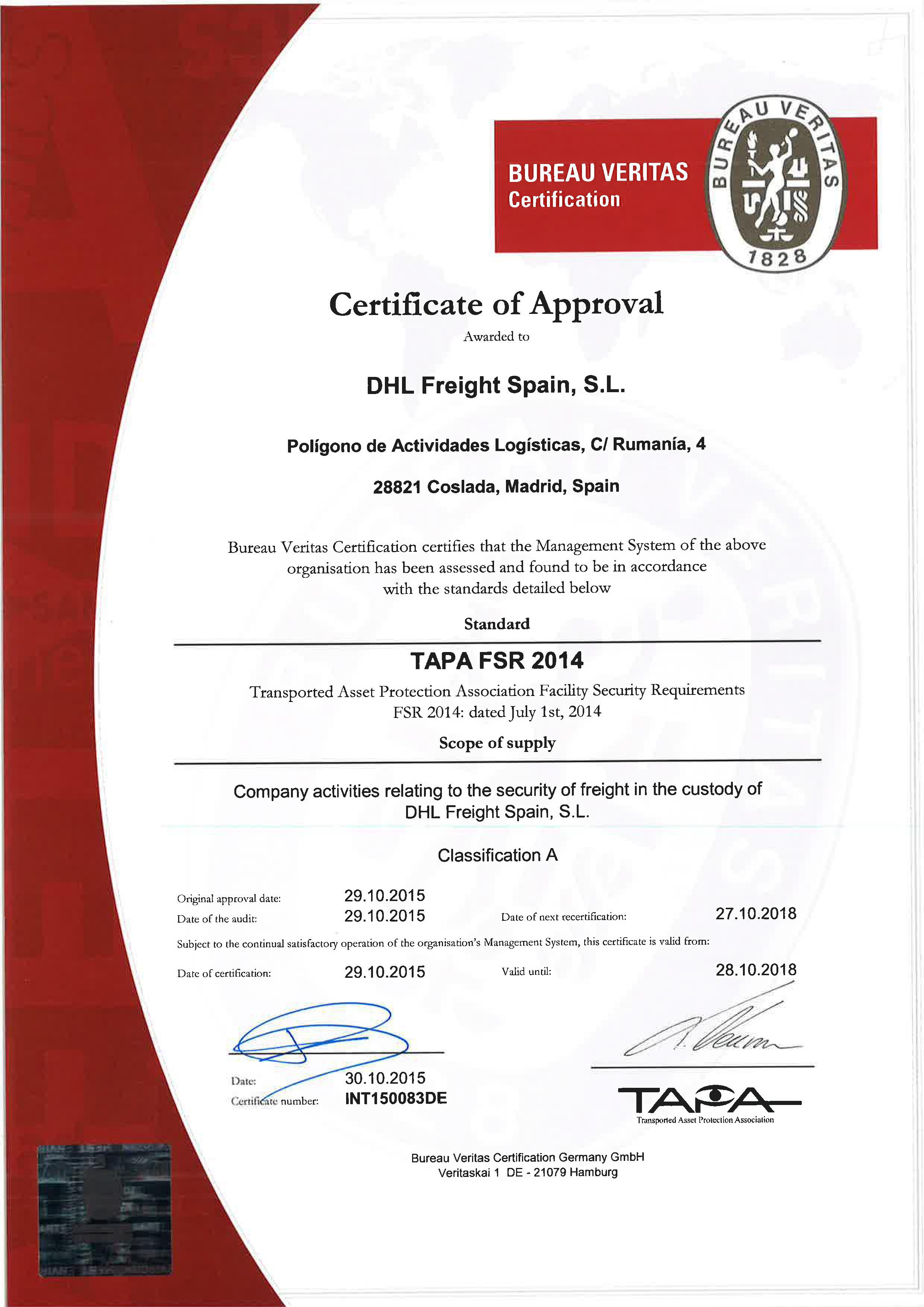 Certificado Tapa DHL Freight