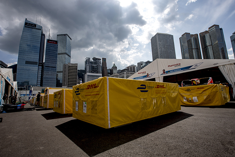 2016/2017 FIA Formula E Championship. Hong Kong ePrix, Hong Kong, China. Thursday 6 October 2016. A DHL transport box in the pit lane. Photo: Zak Mauger/LAT/Formula E ref: Digital Image _X0W1178